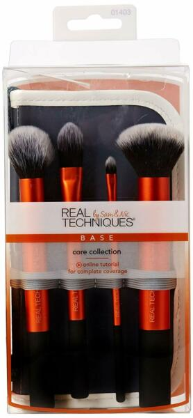 Real Techniques Core Collection Design Makeup Brushes Set with Case Retail box
