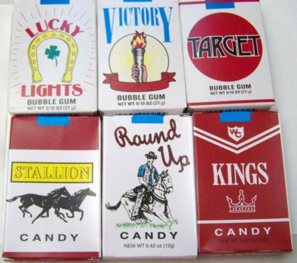 WORLDS BUBBLE GUM CIGARETTES CANDY CIGARETTES 3 of each TOTAL OF 6 FREE SHIP