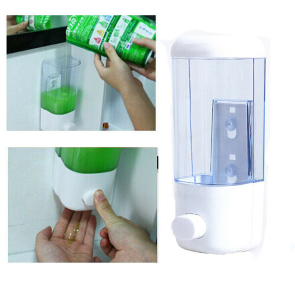 500ml Wall Mount Soap Dispenser Bathroom Shower Lotion Shampoo Liquid Supplies