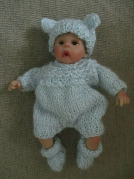 Doll Clothes blue 3pc Hand knitted sleeper for mini baby boy fit A. Drake 6