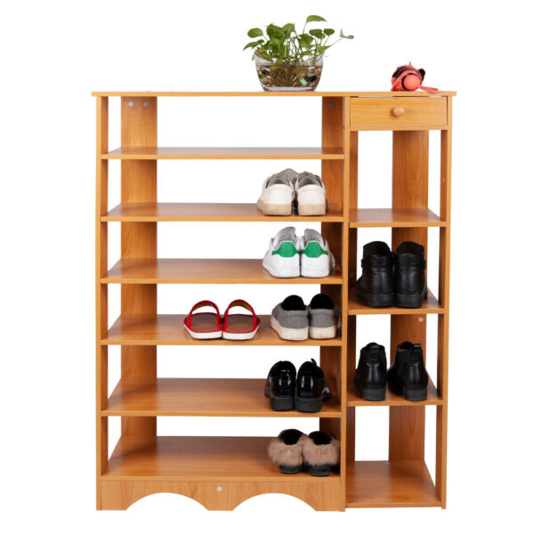 7 Tier Shoe Rack with 1 Drawer and 4 Tie Shoe Rack Storage Shelves Free Stand