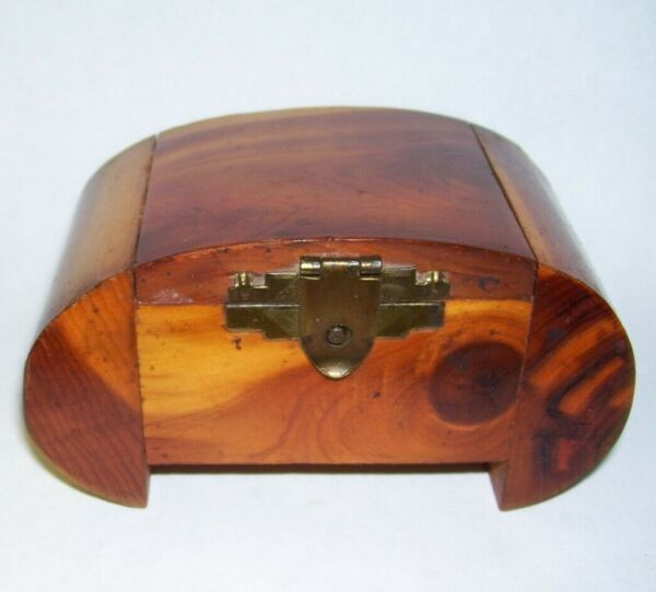 Small Antique Dome Top Wood Trinket Box