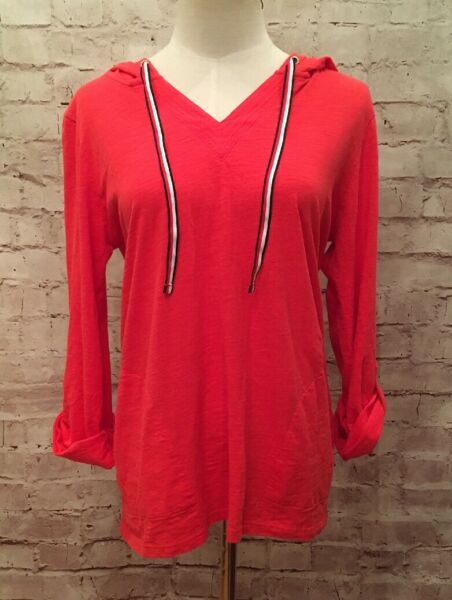 TOMMY HILFIGER Red Roll Tab Sleeve Pullover Lightweight Hoodie Top Womens Medium