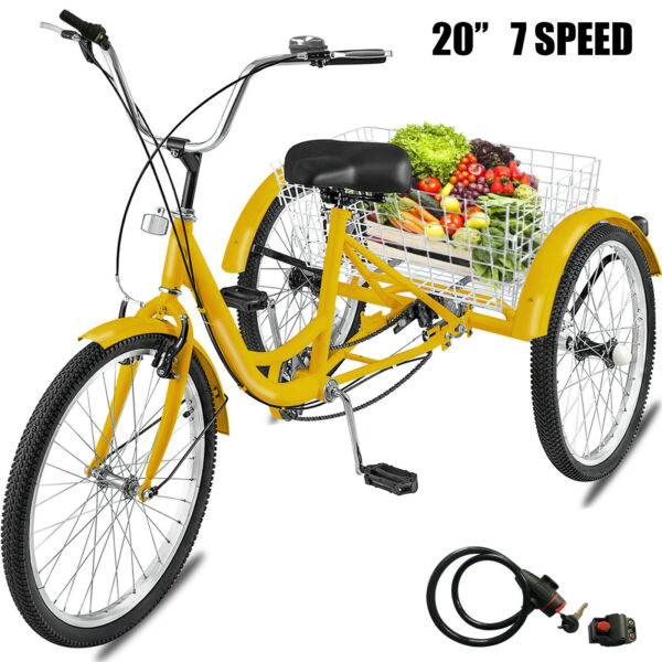 Adult Tricycle 20quot; 7 Speed 3 Wheel Shimano Bike W Basket Installation Tools