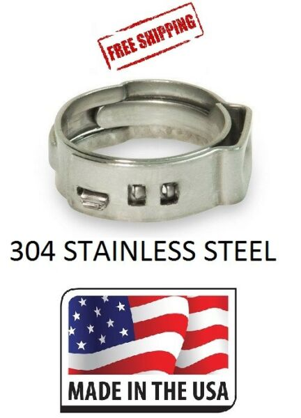 100 1 2 PEX Stainless Steel Clamp Cinch Rings Crimp Pinch Fitting Made in USA
