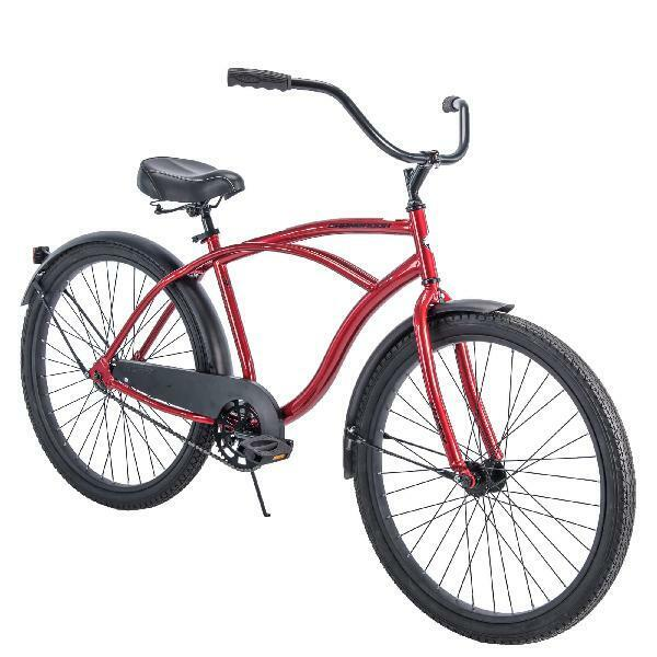 Huffy Single Speed Mens Bike Cruiser Handlebar Padded Saddle Krayton Pedals Red