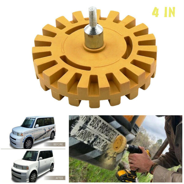 4quot; Car Decal Removal Eraser Wheel w Rubber Power Drill Adapt0er Sticker Remover $6.59