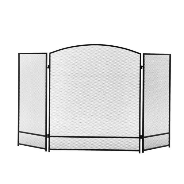 3 Panel 48x26in Steel Mesh Fireplace Screen Spark Guard Cover Gate Fence Black