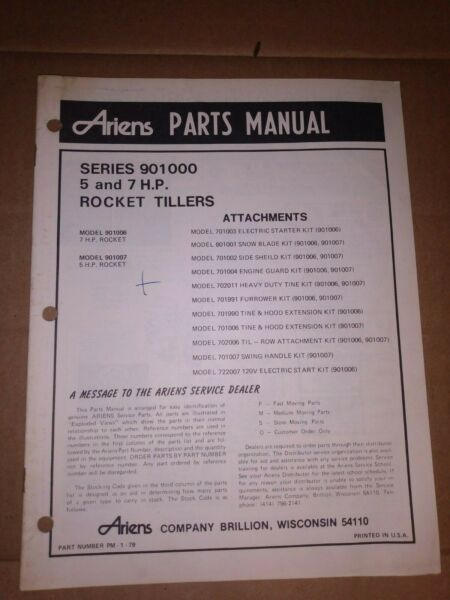 ARIENS PARTS MANUAL SERIES 901000 57HP ROCKET TILLERS ROTOTILLER