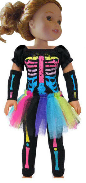 Neon Skeleton Costume Halloween For 14.5quot; WELLIE WISHERS Doll Clothes $12.98