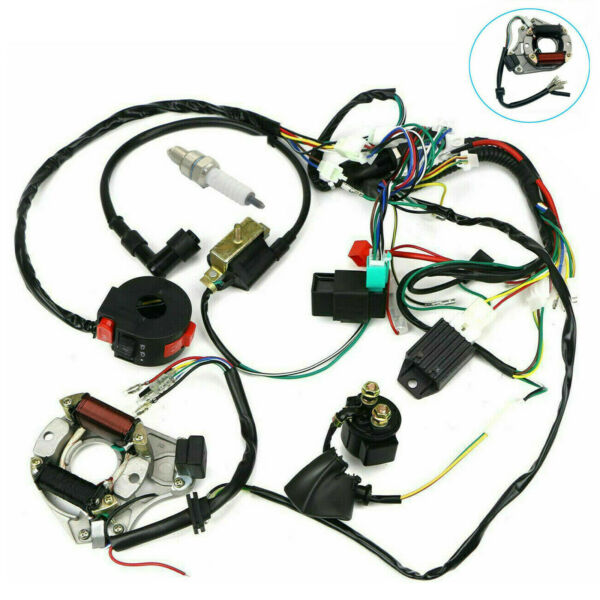 Electric Wiring Harness Wire Loom CDI Stator Kit for 50cc 110cc 125cc ATV QUAD $27.99