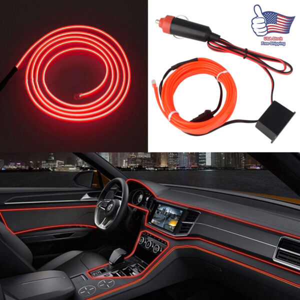 6.5ft Red Atmosphere Led Interior Car Accessories Wire Strip Lights Decoration $7.59