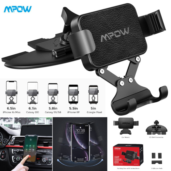 Mpow Car Mount CD Slot Gravity Cell Phone Cradle Holder Stand For iPhone Samsung $10.99
