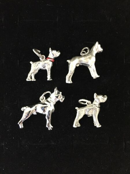 Vintage Sterling Silver Dog Charms Lot Of 4 Pit Bull Terrier Puppy Pendant Pet $29.75
