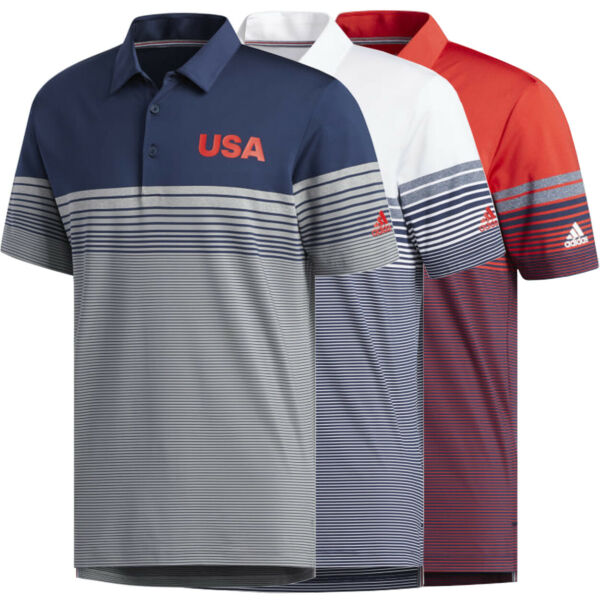 Adidas Golf Men#x27;s USA Ultimate 365 Bold Stripe Polo Shirt Brand New