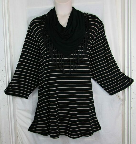 Catherines Removable Fringe Scarf Neckline Black Coco LONGER Length Top 5X NWT $23.99