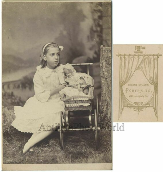 Pretty girl w doll toy stroller antique cabinet photo $45.00