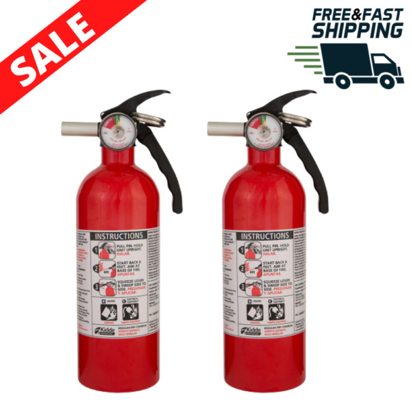 2 Pack Fire Extinguisher Home Safety Emergency Kit Multipurpose Dry Chemical B:C