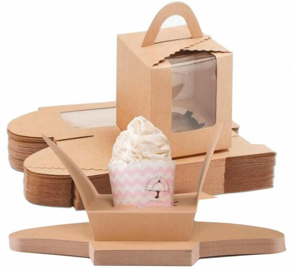 60pcs Brown Single Cupcake Boxes Carrier with Window Inserts for Bakery Wrapping