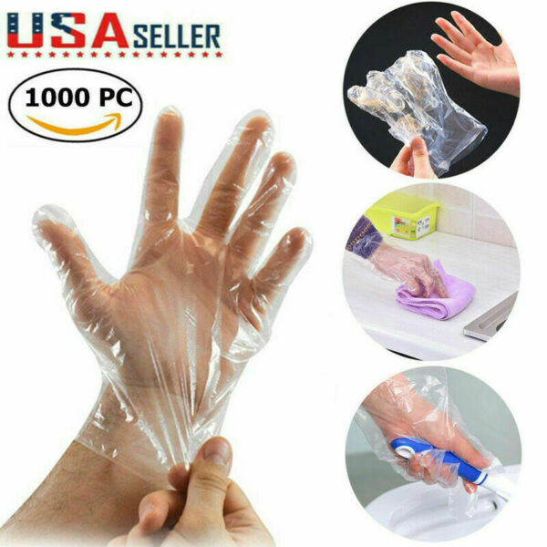 1000 Single Use Plastic Gloves Latex Free Powder Free Thin amp; Light