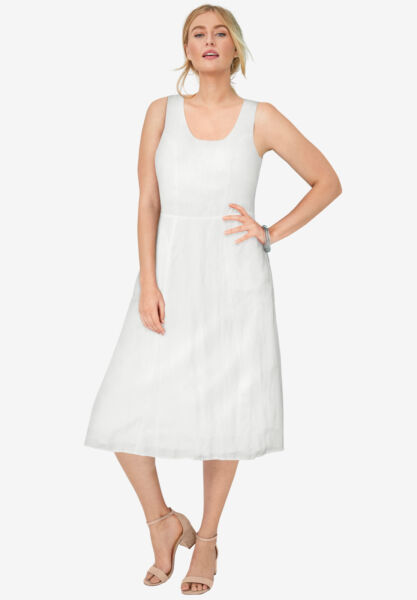 Jessica London Women#x27;s Plus Size Linen Fit amp; Flare Dress $43.79