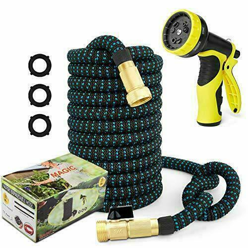 """50ft Garden Hose Expandable Water Hose 3 4"""" Solid Brass Fittings"""
