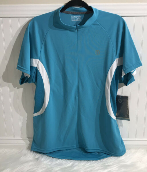 Bontrager Race Short Sleeve Cycling Jersey 1 2 Zip Blue White 3 bags back $40.00