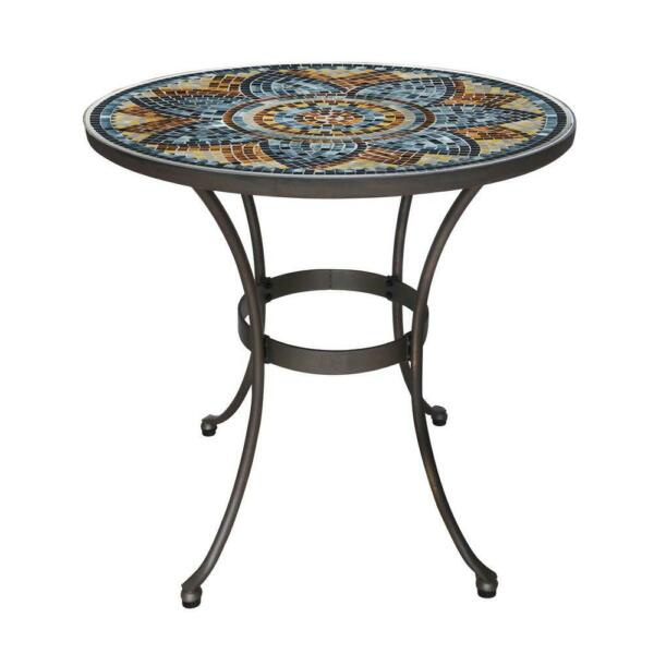 Bistro Table Patio Round Mosaic Top Metal and Glass Restaurant 28 in. Decor