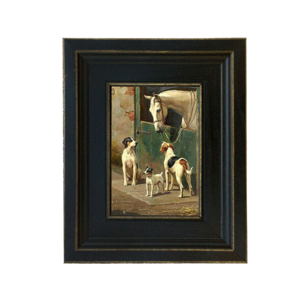 Dog and Horse at Stable Framed Oil Painting Print on Canvas in Distressed Black