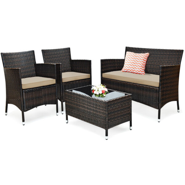 4PCS Rattan Patio Outdoor Furniture Set Cushioned Sofa Chair & Table Glass Top $199.89