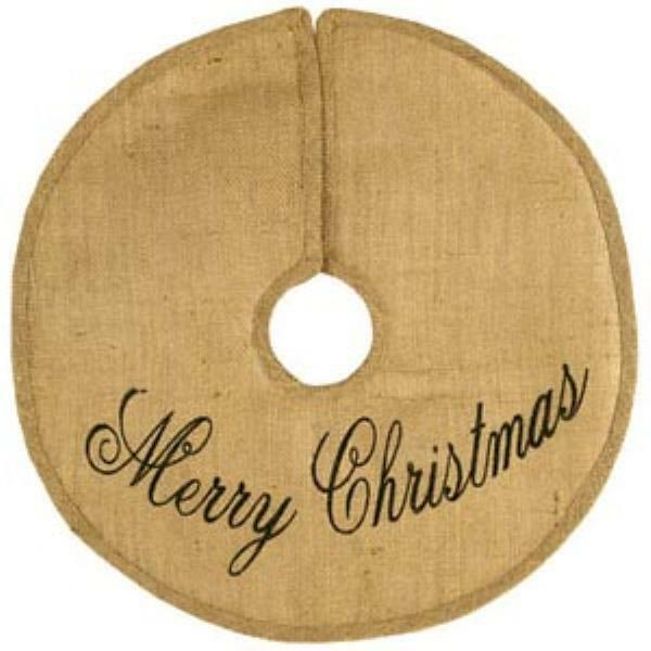Merry Christmas Burlap Tree Skirt 24 inch