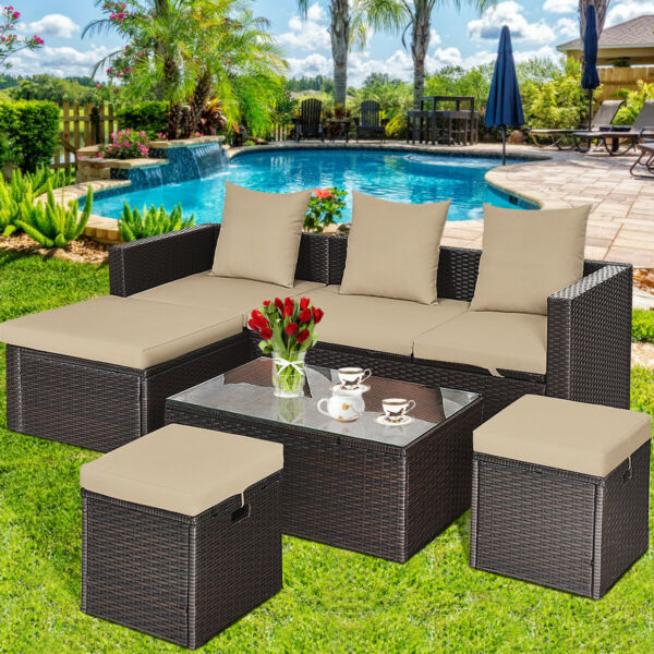 5Pcs Rattan Patio Outdoor Furniture Set Adjustable Sofa Cushioned Ottoman
