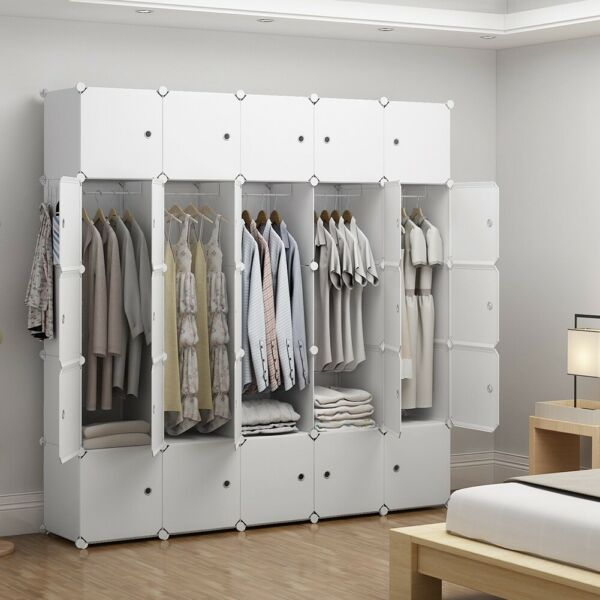 Portable Wardrobe Clothes Closet Plastic Dresser White 5x5 Tiers 18quot; Depth
