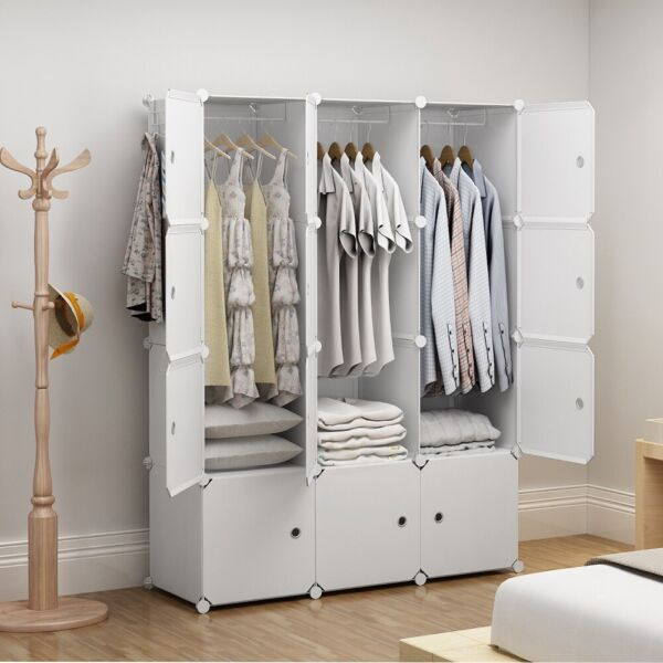 Portable Wardrobe Clothes Closet Plastic Dresser White 3x4 Tiers 18quot; Depth