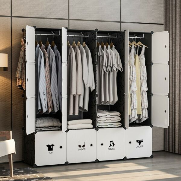 Portable Wardrobe Clothes Closet Plastic Dresser Black 18quot; Depth 4x4 Tiers