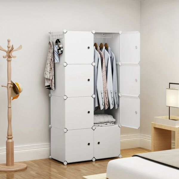 Portable Wardrobe Clothes Closet Plastic Dresser White 2x4 Tiers 18quot; Depth