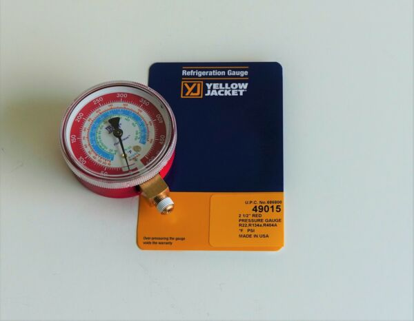 Yellow Jacket 49015 Red Manifold High Pressure Gauge 2 1 2quot; R22 R134a R404A $20.90