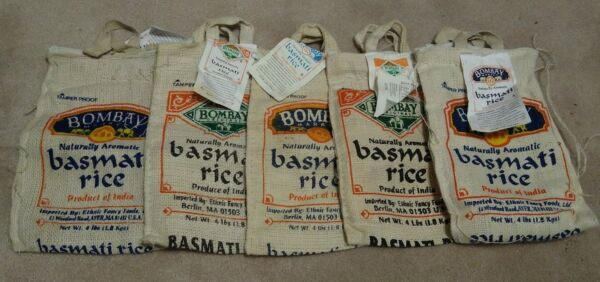 Lot Of 5 EMPTY Zip Tote Burlap Bag w Handles Bombay Basmati Rice 4lb NO RICE
