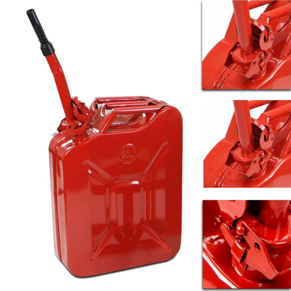 Jerry Can 5 Gallon 20L Steel Gasoline Gas Fuel Tank Military Emergency Backup $30.99