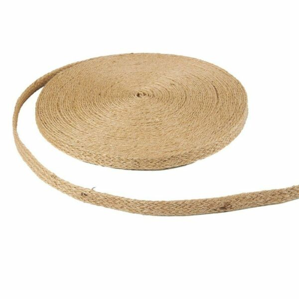 25 Burlap Ribbon Roll Burlap Spool w Twisted Rope for Decorations 0.5quot; Wide