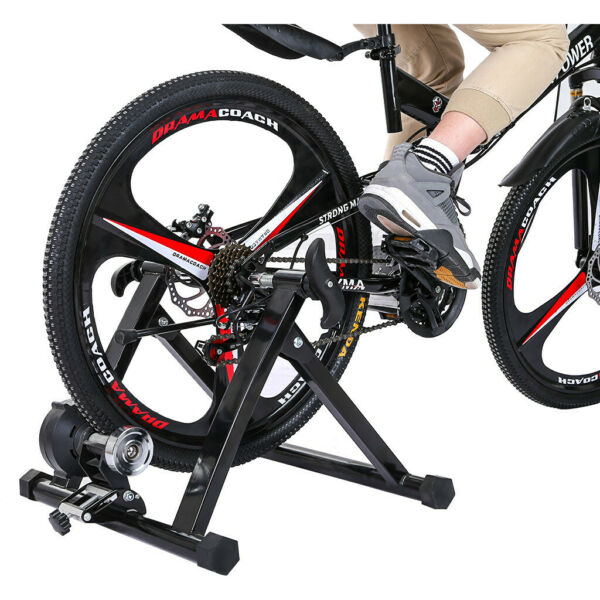 Bicycle Stationary Stand Magnetic Foldabl Steel Bike Trainer Indoor 330lbs Load $128.99