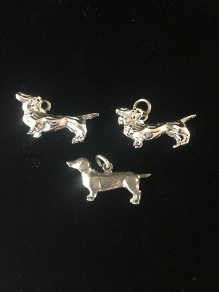 Vintage Sterling Silver Dog Charms Lot Of 3 Dachshunds Wiener Pets Pendant $26.99