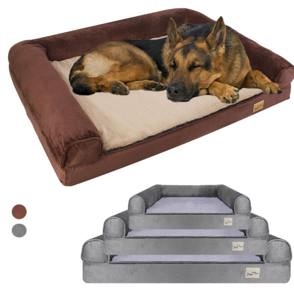 Jumbo Orthopedic Pet Dog Bed Extra Large Dog Bolster Sofa Bed Removable Cover XL $35.93