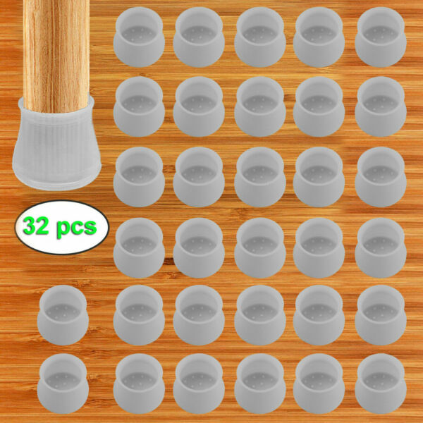 32pcs Silicone Table Chair Leg Protection Cover Furniture Feet Pad Cap Protector $11.49