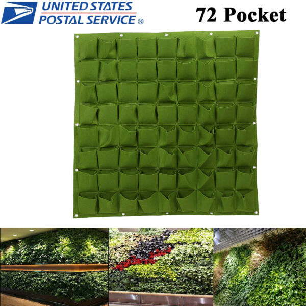 72 Pockets Hanging Planting Bags Wall Vertical Garden Seedling Plant Green US $22.79