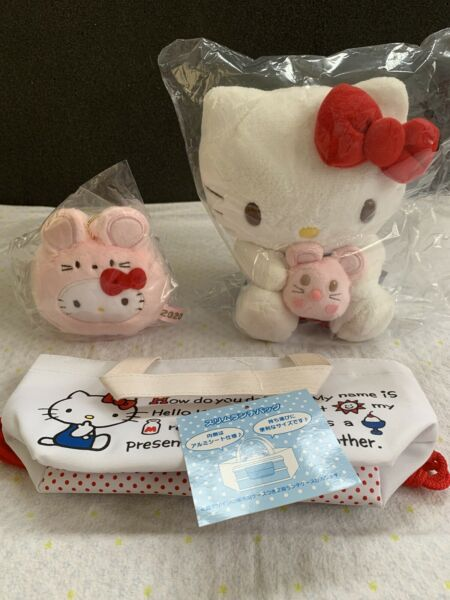 SANRIO Lot Two Lunar Year Mouse Hello Kitty Plush Dolls N Tote Bag Free Ship