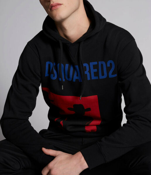 Dsquared2 Mens Cowboys Hooded 100% Cotton Sweatshirt Hoodie Casual Printed Top $151.99