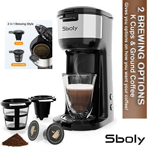 Sboly Brew Coffee Maker Single Serve K Cup Ground 2 In1 Self Cleaning Percolator