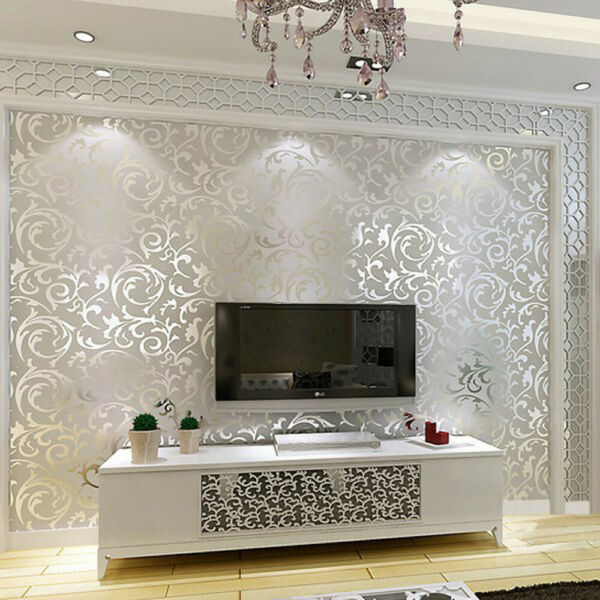 10M Wallpaper 3D Victorian Damask Roll Silver Luxury Wall Covering Home Decor US $17.88