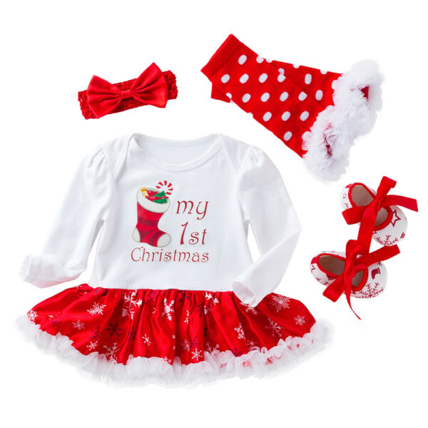 Baby Girl 1st Christmas Outfits Clothes Toddler Xmas Romper Dress Shoes Set 4PCS $12.69
